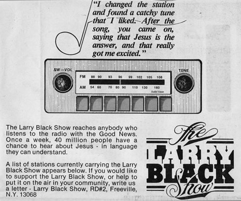 Larry Black Show ad, Free Love magazine